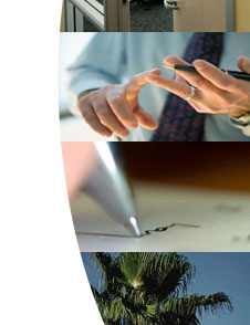Photograph of man counting on fingers, pen tip and signature, top of California palm tree